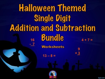 Single Digit Addition and Subtraction Worksheet Bundle - H