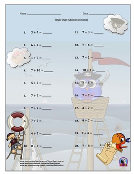 Single Digit Addition and Subtraction Worksheet Bundle - Pirates (60 Pages)