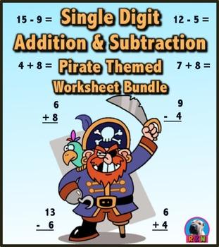 Single Digit Addition and Subtraction Worksheet Bundle - P