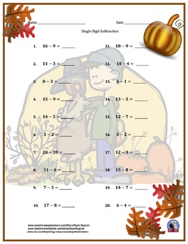 Single Digit Addition and Subtraction Worksheet Bundle - Thanksgiving (60 Pages)