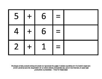 Single Digit Addition using Manipulatives Math Center- Digital Download
