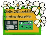 Single Digit Addition using Manipulatives Math Center- Dig
