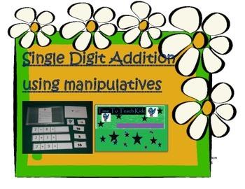 Single Digit Addition using Manipulatives Math Center- Dig