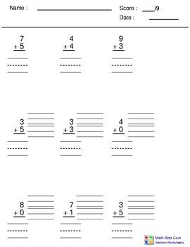 Single Digit Addition (vertical) #3