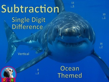 Single Digit Subtraction - Ocean Themed Worksheets-Vertical (15 pages)