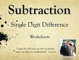 Single Digit Subtraction Worksheets - Horizontal (15 pages)