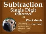 Single Digit Subtraction Worksheets - Vertical (15 pages)