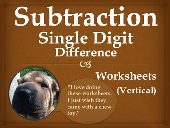 Single Digit Subtraction Worksheets - Vertical (15 pages)