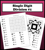 Single Digit Division Color Worksheet #1