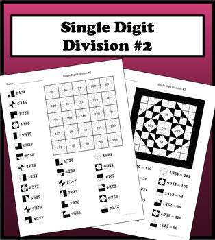 Single Digit Division Color Worksheet #2
