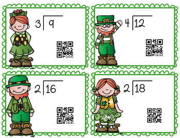 Single Digit Divisor Division St.Patrick's Day Task Cards