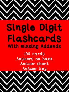 Single Digit FLASHCARDS ~ Missing Addends ~ Back to Basics