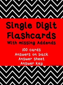 Single Digit FLASHCARDS ~ Missing Addends ~ Back to Basics