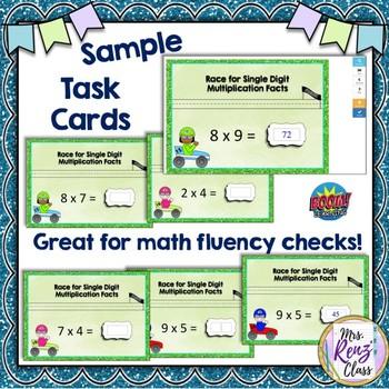 Single Digit Multiplication Digital Task Cards - Boom Learning™ Math Fluency