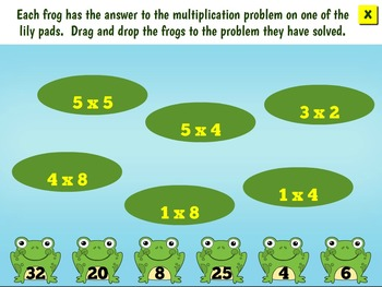 SmartBoard Single Digit Multiplication Interactive Math Game