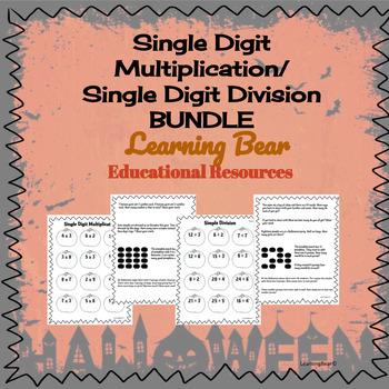Single Digit Multiplication/Simple Division Package- Halloween