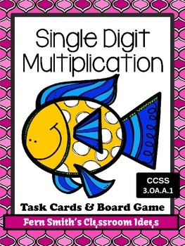 Single Digit Multiplication Task Cards, Recording Sheet and Board Game