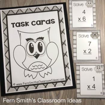 Single Digit Multiplication Task Cards and Recording Sheet Owl Themed