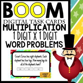 Single Digit Multiplication Word Problems Digital BOOM! Interactive Task Cards