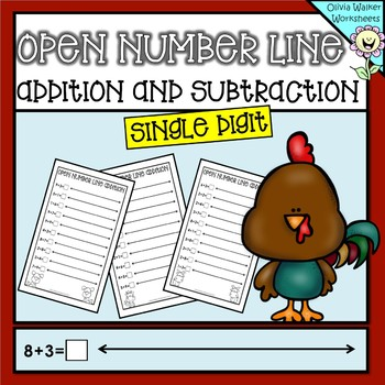 Single Digit Open Number Line Addition and Subtraction (One Digit Numberline)