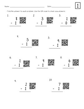 Single-Digit QR Code Subtraction