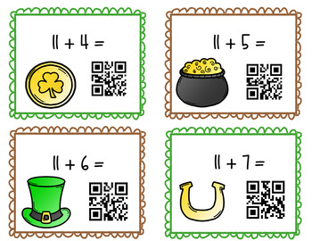 Single Digit St. Patrick's Day Addition Task Cards With QR Codes