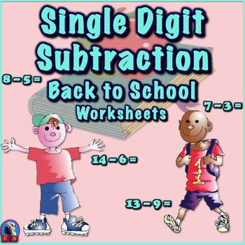 Single Digit Subtraction - Back To School Themed - Horizontal | TpT