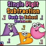 Single Digit Subtraction - Back To School Themed - Vertical
