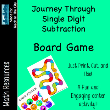 Single Digit Subtraction - Board Game - Center Activity