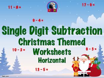 Single Digit Subtraction - Christmas Themed Worksheets - Horizontal