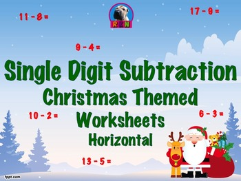 Single Digit Subtraction - Christmas Themed Worksheets - H