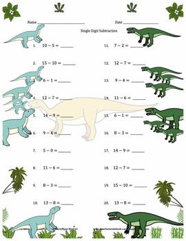 Single Digit Subtraction - Dinosaur Themed - Horizontal