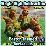 Single Digit Subtraction - Easter Themed Worksheets - Horizontal
