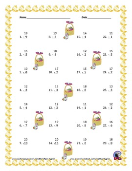 Single Digit Subtraction - Easter Themed Worksheets - Vertical