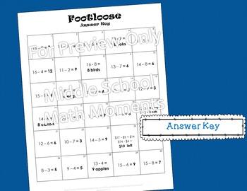 Single Digit Subtraction Footloose Math Game