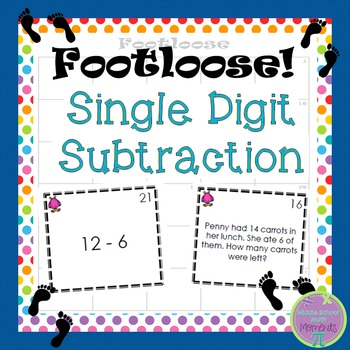 Single Digit Subtraction Footloose Math Game