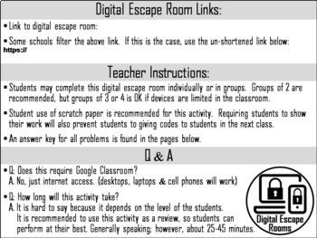 Single Digit Subtraction Game: Digital Escape Room Math