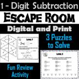 Single Digit Subtraction Game: Escape Room Math