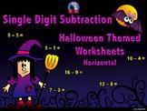 Single Digit Subtraction - Halloween Themed Worksheets - Horizontal