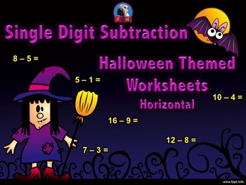 Single Digit Subtraction - Halloween Themed Worksheets - Horizontal