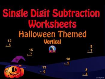 Single Digit Subtraction - Halloween Themed - Vertical