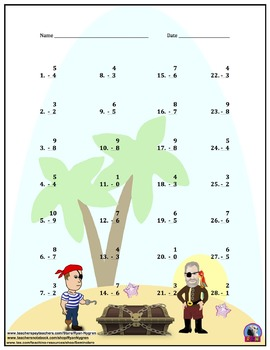 Single Digit Subtraction - Pirate Themed - Vertical