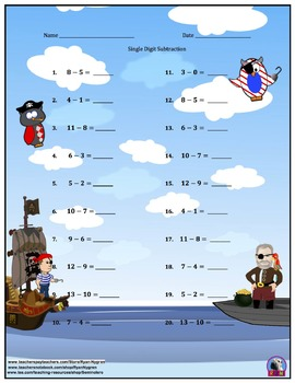 Single Digit Subtraction - Pirate Themed Worksheets - Horizontal