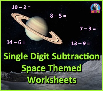 Single Digit Subtraction - Space Themed - Horizontal