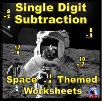 Single Digit Subtraction - Space Themed - Vertical