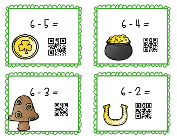 Single Digit Subtraction St. Patrick's Day Task Cards