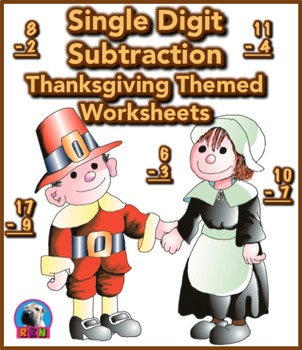 Single Digit Subtraction - Thanksgiving Themed - Vertical