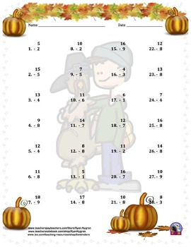 Single Digit Subtraction - Thanksgiving/Fall Themed - Vertical