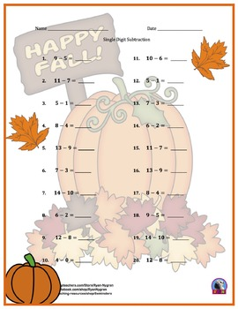 Single Digit Subtraction - Thanksgiving/Fall Themed Worksheets - Horizontal
