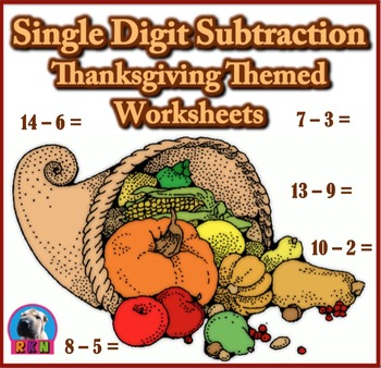 Single Digit Subtraction - Thanksgiving/Fall Themed Worksh